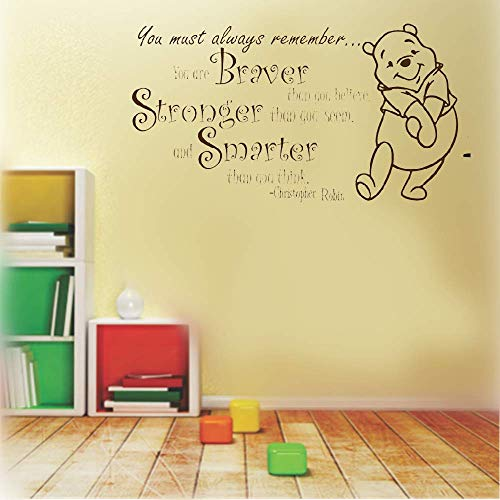 (DIY Removable Vinyl Decal Mural Letter Wall Sticker Quote Winnie The Pooh Quote Braver Stronger Smarter for Nursery Kids Room Boys Girls)