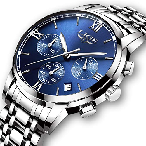 - Mens Watches Leahter Analog Quartz Watch Men Date Business Dress Wristwatch Men's Waterproof Sport Clock
