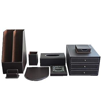 Beau Desktop High End Business Office Storage Supplies 8 Piece Set File Cabinet  Pen Holder File