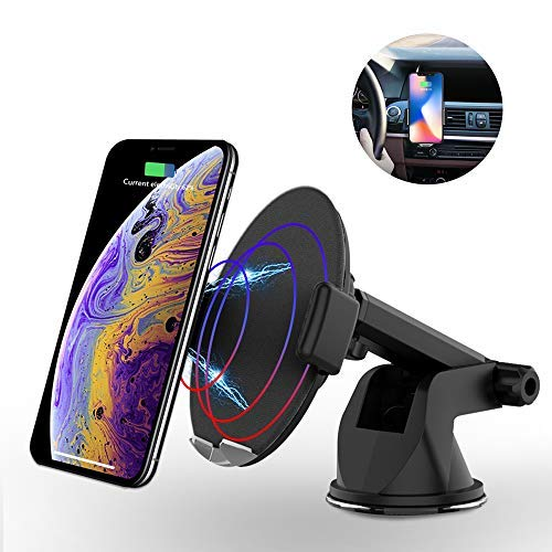 Wireless Charger Car Mount Automatic Induction Cellphone Charger Air Vent Dashboard Holder Compatible for iPhone XS/Max/XR/X/8/8 Plus, Samsung Galaxy S9/S9+,S8/S8+,Note 8 Qi Enabled Device (Black)