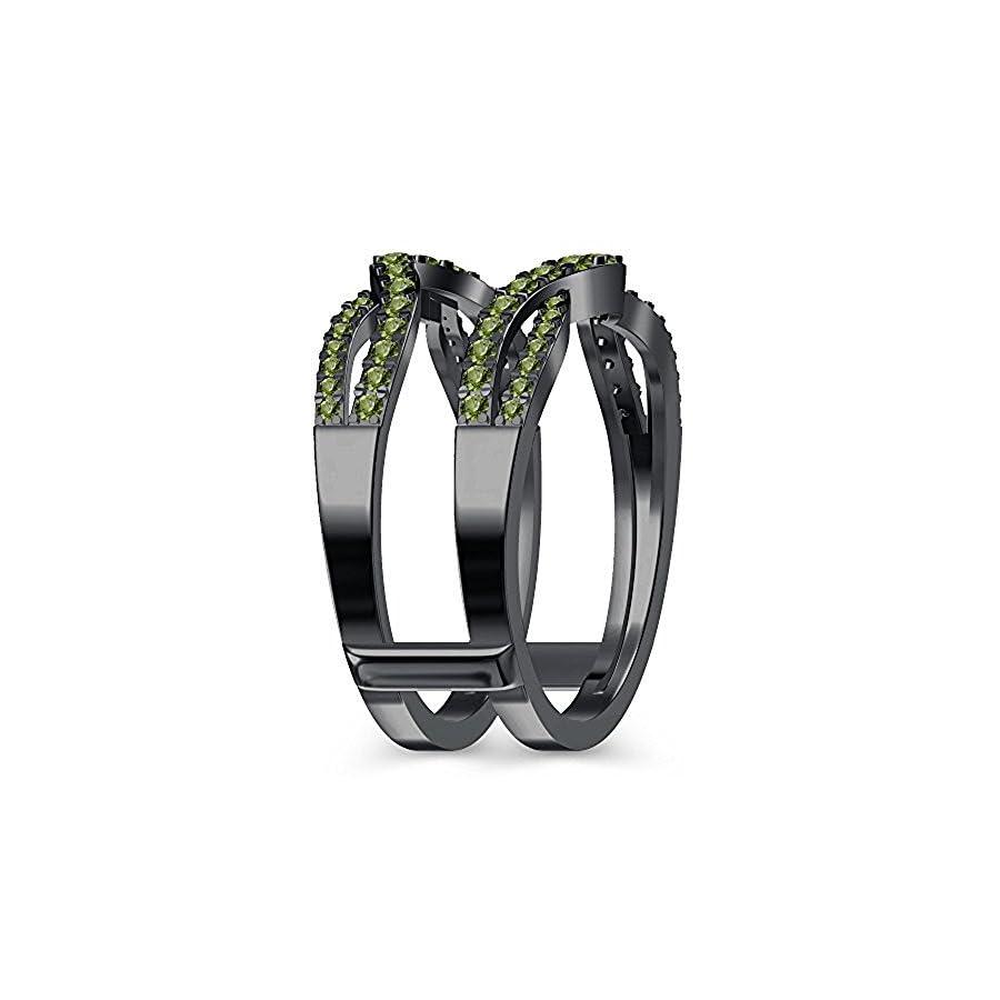 Infinity Cross Designed Ring Guard Enhancer Peridot 14K Black Gold Plated Alloy