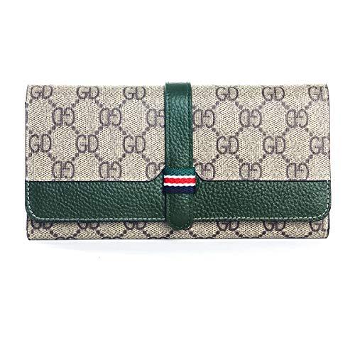 (Women Leather Flap Clutch Slim Long Bifold Vintage Travel Wallet - Green)