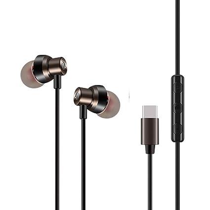 SALLYDREAM Entrada de Tipo C Auriculares de Metal para Xiaomi Mi6 Auriculares Estéreo Auriculares Bajo (Negro)