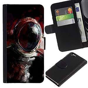 KLONGSHOP // Tirón de la caja Cartera de cuero con ranuras para tarjetas - Pintura al óleo Cosmonauta - Apple Iphone 6 //