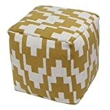 BrandWave Cotton Cover Square Pouf Ottomon/Seat - Mustard and Ivory Arrow Tile Pattern - Soft Yet Sturdy Design - 18x18x18