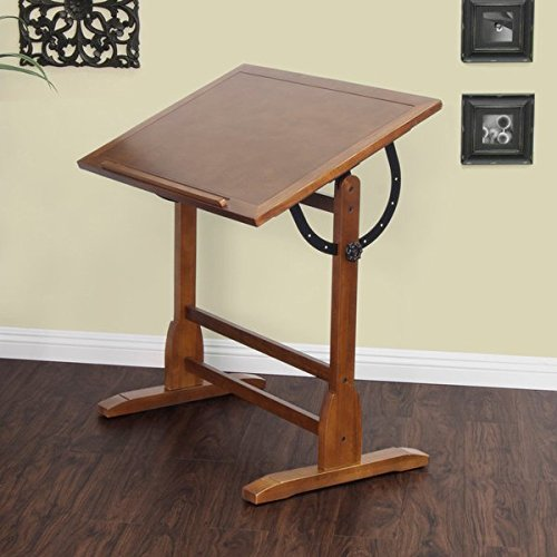 Studio Designs 36 x 24 Rustic Oak Vintage Drafting and Hobby Craft Table by Studio Designs