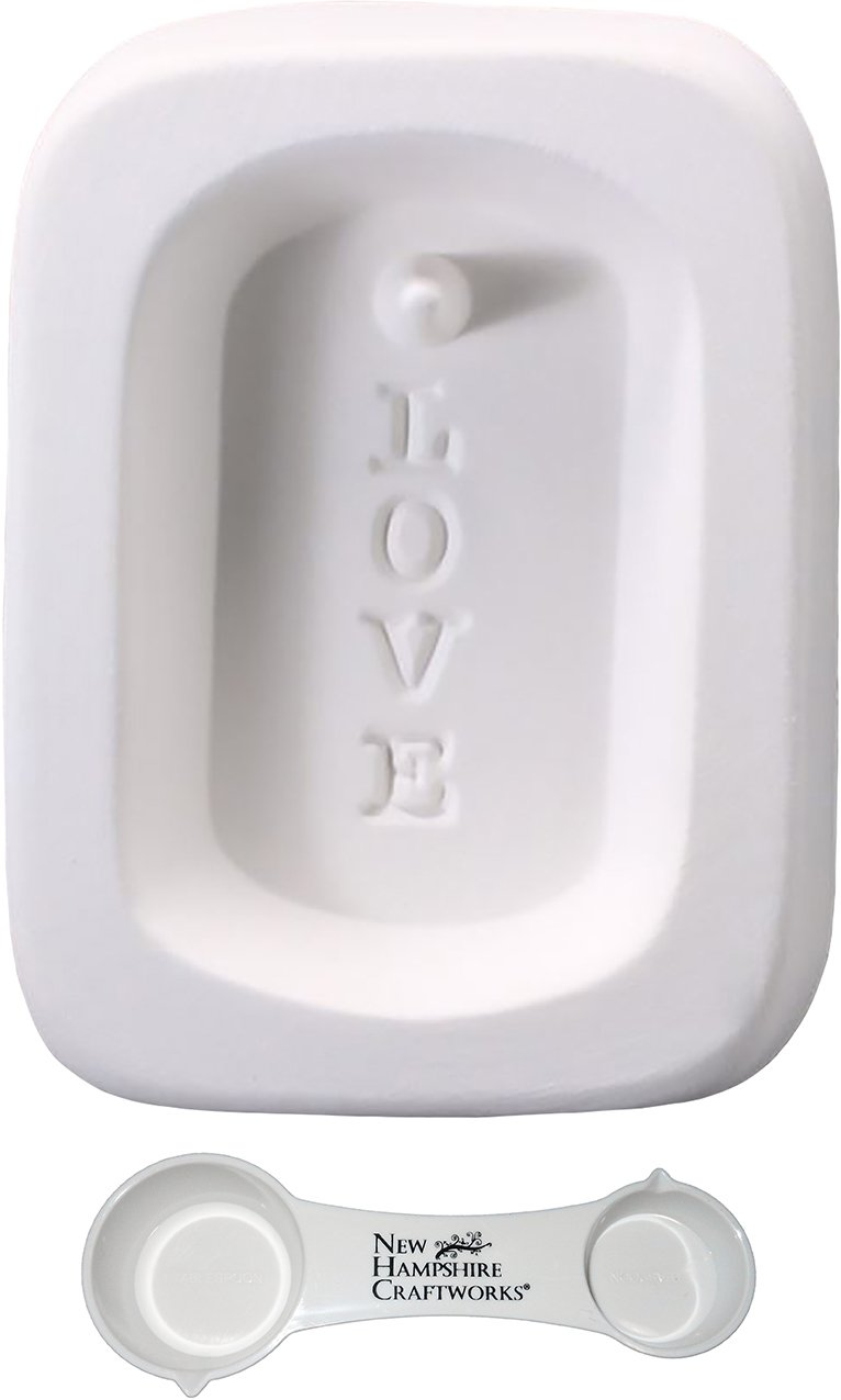 Love Dog Tag Pendant With Hole - Includes Frit Measuring Spoon - Fusible Glass Frit Casting Mold New Hampshire Craftworks