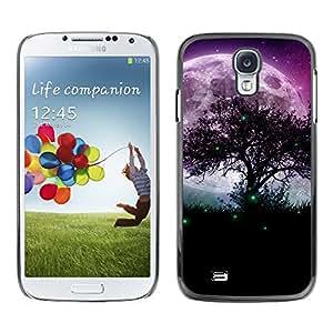 Mágica Luna Y Verdes Luciérnagas - Metal de aluminio y de plástico duro Caja del teléfono - Negro - Samsung Galaxy S4