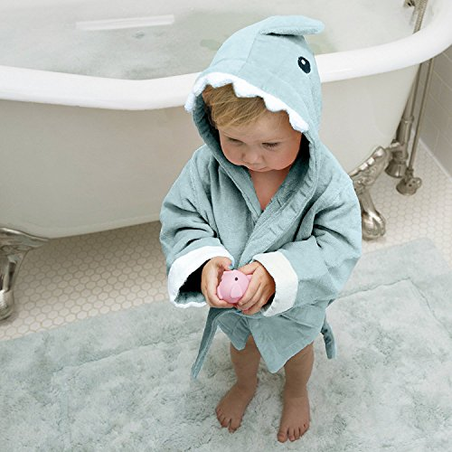 Teddy Bear Knit Pattern (HoodieKinz Baby Shark Hooded Bath Robe - Thick 100% Plush Cotton Terry Cloth - 3 Sizes for Infants - Toddlers and Little Kids (BLUE -)