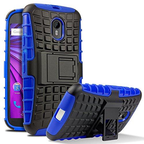 Moto G 3rd Generation Case, HHI Dual Armor Composite Case with Stand for Motorola Moto G 3rd Gen - Blue (Motorola G 2015 (Hhi Armor Case)