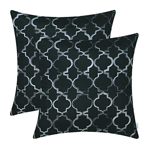 CaliTime Pack of 2 Faux Silk Throw Pillow Covers Cases Sofa Couch Home Decoration 18 X 18 inches Gradient Quatrefoil Accent Geometric Chain Embroidered Black ()