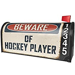 NEONBLOND Beware of Hockey Player Vintage Funny Sign Magnetic Mailbox Cover Custom Numbers