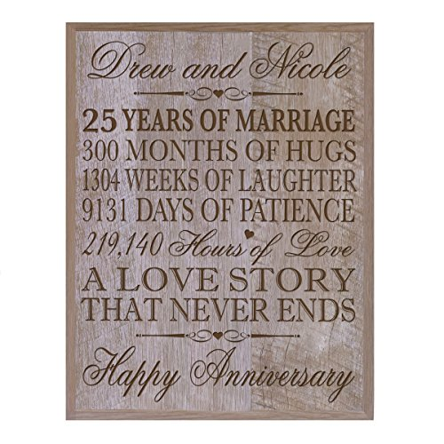LifeSong Milestones Personalized 25th Wedding Anniversary Wall Plaque Gifts for Couple, Custom Made 25th, 25th Wedding 12