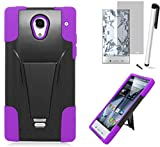 cover cases for sharp aquos - For Sharp Aquos Crystal 306 (Sprint Virgin Mobile Boost Mobile) Symbiosis Advanced Armor Impact Hybrid Soft Silicone Cover Hard Snap On Plastic Case with Kick Stand + [WORLD ACC Brand LCD Screen Protector + Silver Stylus Pen + Black Dust Cap Free Gift (Y-Stand Black / Purple)