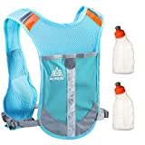 Geila Outdoors Sport Reflective Trail Marathoner Running Race Cycling Hydration Vest Pack Backpack with 2 Water Bottle (Blue+2 Water Bottle)