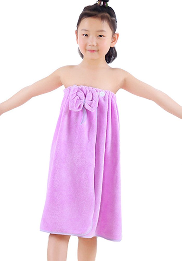 Horcute Bowknot Kids Spa Bath Towel Wrap Purple