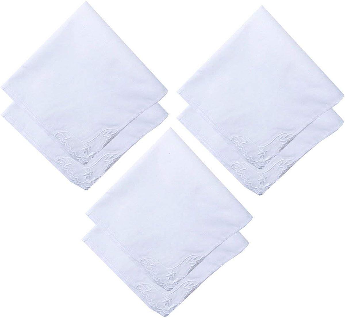 MileyMarla Ladies Embroidery Cotton White Handkerchiefs Lace Wedding Hankies
