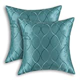Pack of 2 CaliTime Cushion Covers Throw Pillow Cases Shells for Home Sofa Couch, Modern Waves Lines Embroidered 18 X 18 Inches Teal