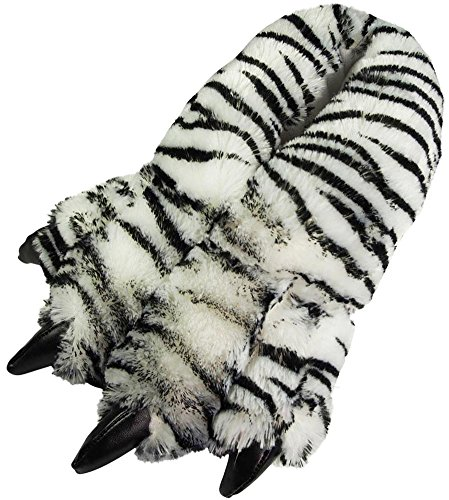 NORTY Grizzly Bear Stuffed Animal Claw Slippers - Plush Paw Slippers - Furry Animal Slippers - Toddlers, Kids & Adults - Cosplay & Everyday Wear White Tiger