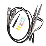 Oscilloscope Probes 100 MHz with Accessories Kit P6100 High Sensitivity Oscilloscope Clip Probe 10:1 and 1:1 Switchable with Mini Alligator and Ground Lead 600V DC Lab Oscilloscope 2 PCS