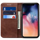 Wallet Case for 2019 iPhone 11 Pro, Kickstand Magnetic PU Leather Folio Flip Cover ID Credit Card Holder, 5.8 inches, Brown
