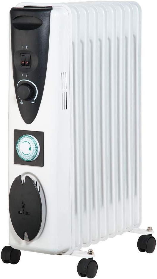 Lauson AOR103 Radiateur /à bain dHuile avec Minuterie Programmable Thermostat R/églable 2000W et 9el