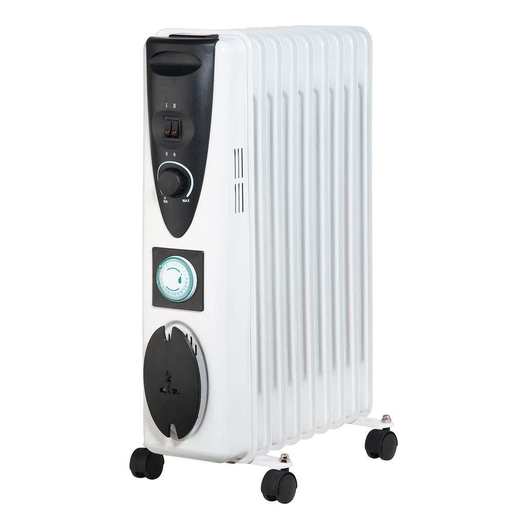 Lauson Radiador eléctrico de Aceite Temporizador Programable, 3 Niveles de Potencia, Protección contra Sobrecalentamiento y Recogecables, Ahorro Energético, ...