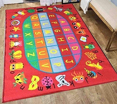 LA Circular Party Pattern Fun Tone Creatures Animals Fruit Figures Alphabet Round Playtime 5-Feet-by-7-Feet Polyester Made All Boys Girls Area Rug Carpet Rug Colorful