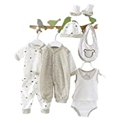 Smgslib 8pcs Newborn Baby Clothes Unisex Infant Outfits Layette Set with Stripe Dot(Gray)