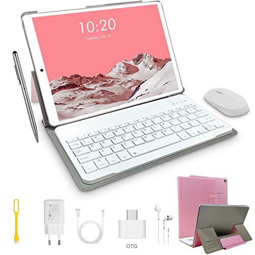 🥇 Tablets 4G 10 Pulgadas con Teclado 64GB ROM 4GB RAM Android 9.0 Dual SIM/WiFi Batería de 8000mAh Cámara de 8MP Tablets