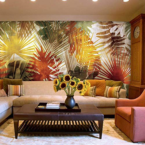 NIdezuiai Murals,Custom 4D Wallpaper Plant Series Modern Striped Palm Leaves Art Print Wall Painting Hd Print Poster for Living Room Tv Backdrop Bedroom Hotel Decor Large Silk Mural 290Cm(H)×480Cm(W)