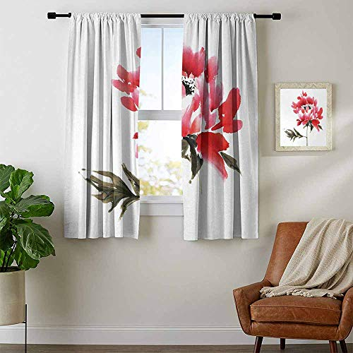 youpinnong Art, Curtains Bedroom, Traditional Japanese Ink Wash Painting Inspired Watercolor Illustration of a Flower, Curtains Kids Room, W72 x L45 Inch Red Sage Green