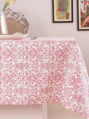 Table Cloth, 100% Cotton, Rectangular Table Cloth of Size 60 X 102 Inch, Eco - Friendly & Safe, Pink Ornaments Design for ()