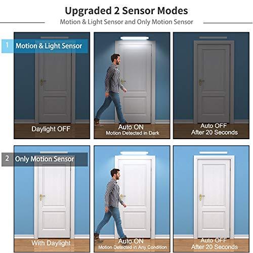 78 LED Closet Light, Newest Version Rechargeable LED Motion Sensor Under Cabinet Lights Wireless Night Lighting for Kitchen Cabinet Wardrobe, 2 Sensor Mode (Only Motion, Motion & Light Sensor) -Silver