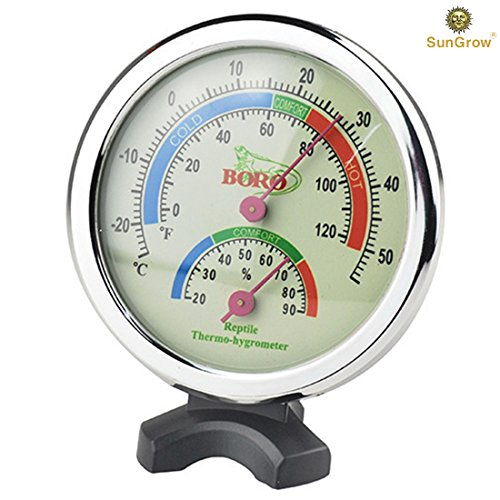SunGrow Water-Proof Plastic Boro Analog Dual Thermometer & Humidity Gauge with Night light by Submersible Hygrometer & Temperature Reader : Monitor Reptile's Habitat : Stand ensures Easy Relocation Precision Analog Reptile Thermometer