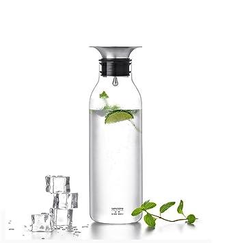 LeOx- Jarra Cristal de Agua 900 ml Licorera Garrafa Botella Vidrio de Borosilicato / acero inoxidable Jarra con Tapa: Amazon.es: Hogar