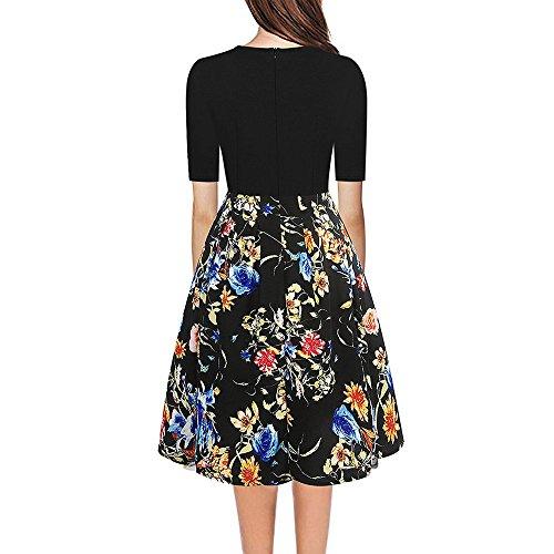 WINWINTOM Rockabilly Kleider Damen,Sommerkleider Abendkleid  Knielang,Damenmode Rundhalsausschnitt Kleid Slim Print Hepburn Dress ... a1ec1777a9