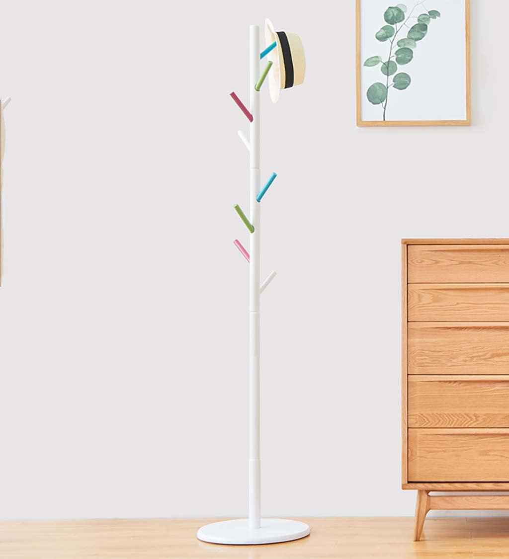 JIANFEI Floor Standing Coat Rack Clothes Hat Stand Hanger 8Tree Twigs Shape Hooks Great Circle Chassis Solid Wood, 5 Colors, 36 175cm (Color : Multi-Color)