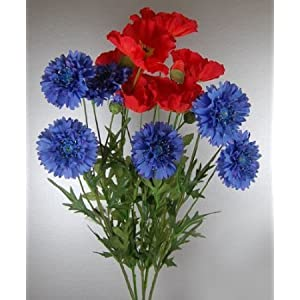 Bunch of Artificial Silk Poppies and Cornflowers 2