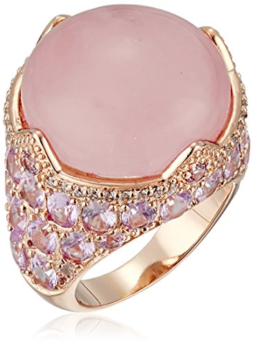 (CZ by Kenneth Jay Lane Round/Oval Cubic Zirconia Cab Rose Quartz Ring, Size 6)