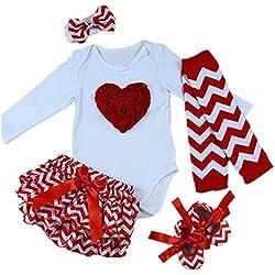 AISHIONY 5PCS Baby Girlsu0027 Newborn Tutu Onesie Outfit Princess Party Dress  ...