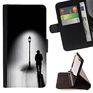 LG Magna / G4C / H525N H522Y H520N H502F H500F (G4 MINI,NOT FOR LG G4)Case , Farola Negro Blanco Dibujo Oscuro- la tarjeta de Crédito Slots PU Funda de cuero Monedero caso cubierta de piel