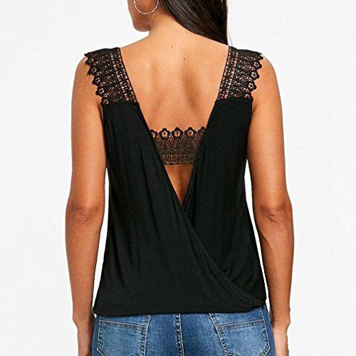 Noir Femmes d'été V Manches Sexy LuckyGirls A T sans Cou Creux Casual Shirt Veste Top gdYqnOq