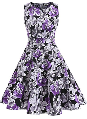 OTEN Women's Vintage Tea Dress Sleeveless Floral 1950s Cocktail Dressing, X-Large, Black+Purple Floral (Dress Purple Black)