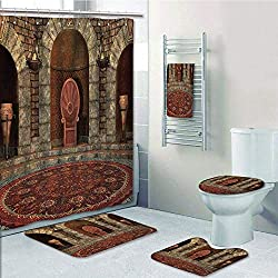 Bathroom Fashion 5 Piece Set Shower Curtain 3D Print,Gothic,Throne of King in Vintage Style Palace Chandelier Medieval Architecture Theme,Bur dy Grey,Bath Mat,Bathroom Carpet Rug,Non-Slip,Bath Towls