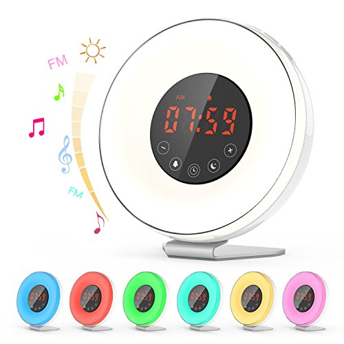 Natural Light Alarm Clock (Dr.meter Natural Light Alarm Clock, Wake Up Light Digital Alarm Clock Sunrise Simulation, with 7-Color Night Light, 6 Nature Sounds, FM Radio, Touch Control and Special Snooze Design)