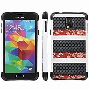 [ArmorXtreme] Drop Proof Dual Layer Protection Case (Carbin Fiber Flower) for Samsung Galaxy S5