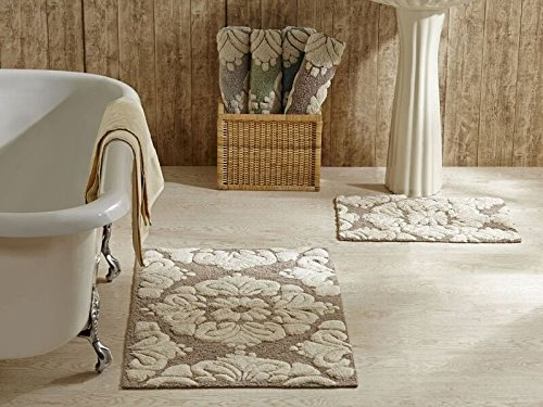 Elegant Better Trends / Pan Overseas Medallion 170 GSF 100 Percent Cotton 2 Piece  Luxury Tufted Bath Rug Set, 24 By 40 Inch/17 By 24 Inch, Beige/Natural
