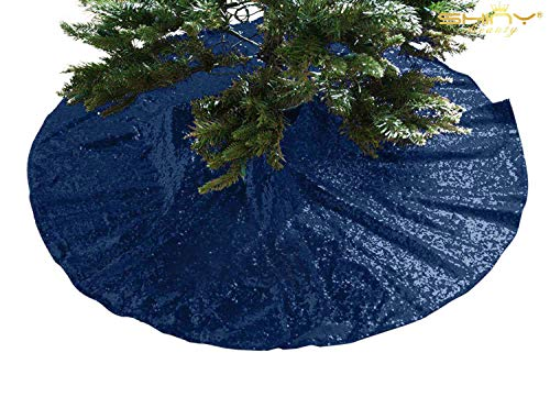 (ShinyBeauty 21Inch-Navy Blue-Sequin Christmas Tree Skirt, 21