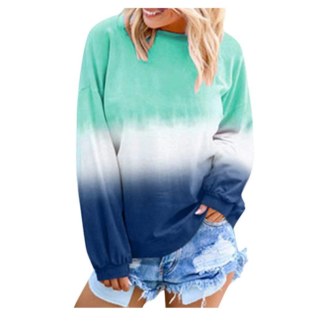 Miuye yuren Womens Knits & Tees Autumn Winter New Pullover Rainbow Gradual Printed Long Sleeve Sweatshirt Tops (L, A-Blue) by Miuye yuren-Clothing
